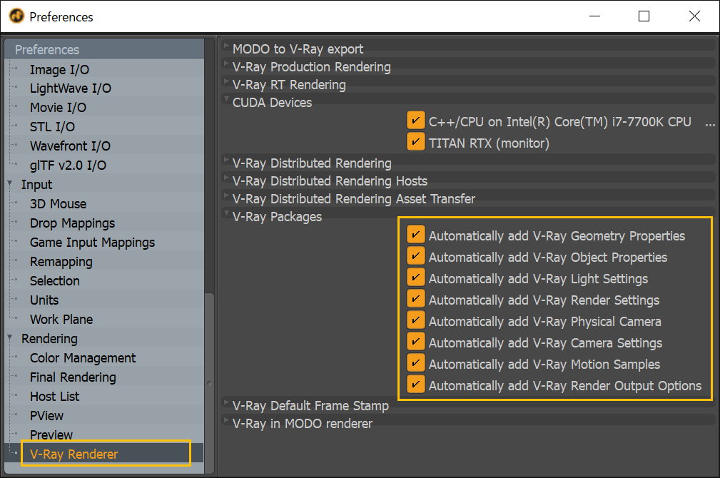 V-Ray for Modo の設定
